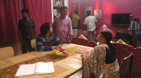 Male lead Satyajyoti and Shweta Acharya are being briefed by Director Kapilas Bhuyan