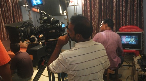 While Satya Prakash Rath, the Director of Photography (DOP) composes a frame, director Kapilas Bhuyan looks on